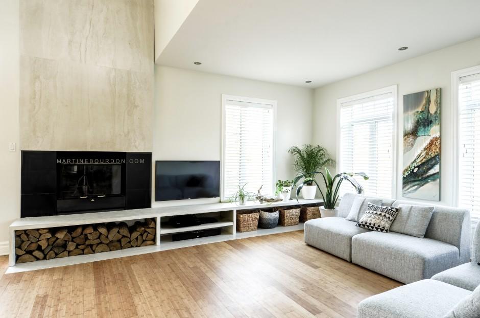 Salon manteau de foyer et meuble télé tablette en béton décoratif