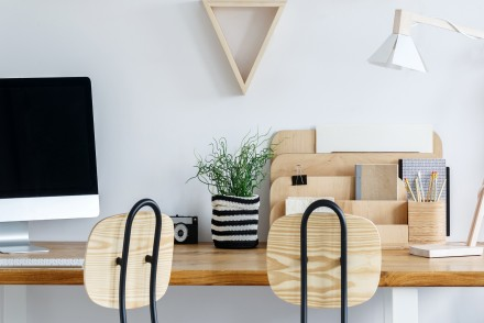 Workspace in trendy apartment